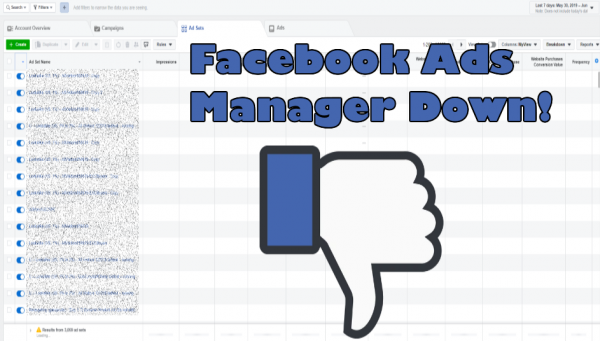 Facebook FB Ad Manager Down